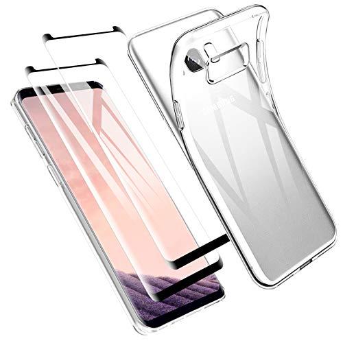 Zsmzzd Funda para Samsung Galaxy S8 Plus, 2 Pcs Protector de Pantalla Cristal Templado, Antigolpes Transparente Silicona TPU Suave Carcasa + Vidrio Templado Screen Protector Samsung Galaxy S8 Plus