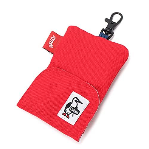 チャムス CHUMS リサイクルリトラクターキーホルダー Recycle Retractor Key Holder 二室構造のキーケース カードケース 財布 コインケース (Red)