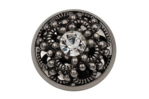 3 Stück außergewöhnlich schöne Silber antik Metall Knöpfe Schmuckknöpfe gewölbt mit einem Kristall Made in Germany (20mm)