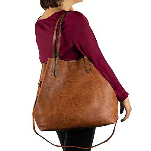 Borsa shopping donna a spalla grande capiente color cuoio tipo bag con borsellino e tracolla tre pezzi 3 shopper giornaliera tutti i giorni da lavoro ufficio primavera estate 2021 primaverile Cuoio