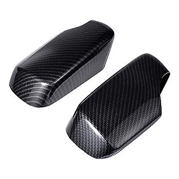 Compatible with 3 Series E46 Sedan Hatchback Touring Rearview Mirror Cover Cap Primer Finish  2PCs Carbon Fiber