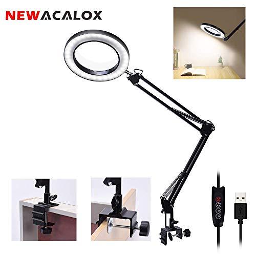 LED de lupa,NEWACALOX lámpara de escritorio con lupa ajustable 5X con lámpara de lupa USB iluminada de 3 colores con brazo giratorio ajustable para lectura Rework Craft o banco de trabajo