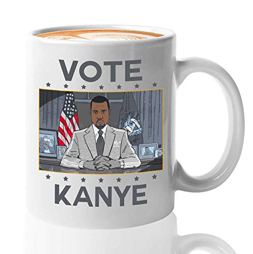 Kanye West Coffee Mug - Vote For Kanye West President Usa - Kanye West Bro President Usa 2020 Kim Kardashian Kan Yay Yeezy Yeezus Fan (11oz,White)