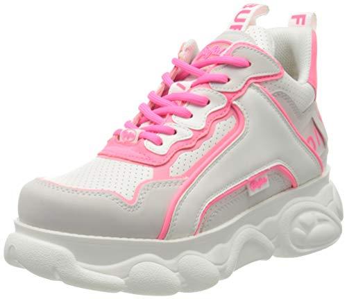 Buffalo Damen CHAI Hohe Sneaker, Mehrfarbig (White/Neon Pink 000), 40 EU