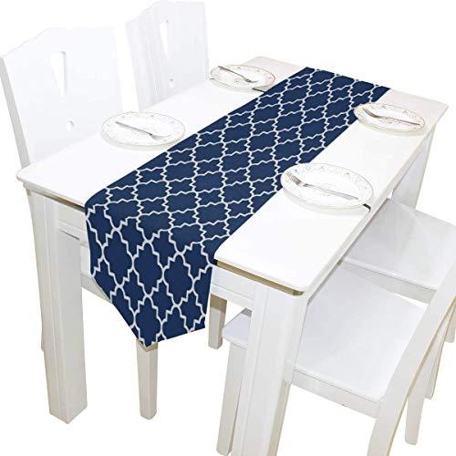 MODORSAN Camino de Mesa 13'x70' Decoración para el hogar, Hipster Azul Marino Marroquí Camino de Mesa Tapete de café para Cocina Comedor Decoración de Fiesta de Boda