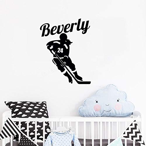 Fußballgewohnheitsaufkleber Female Athlete Personalized Name And Number For Girls Bedroom Ice Hockey Decals Poster for bedroom