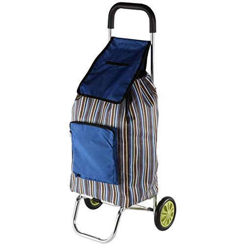 LJYLF Lightweight Folding Shopping Trolley, Reusable Household Trolley Cart with Stripe Printed Oxford Cloth Bag, for Daily Grocery Transport,A
