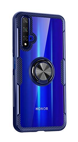 SORAKA Hülle für Huawei Nova 5T/Honor 20 mit Ringständer,Harter PC transparenter Abdeckung+Silikon Rahmen durchsichtige hülle mit Metallplatte für Handyhalterung Auto KFZ Magnet