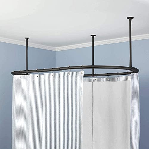 Luxury Oval Shower Curtain Rod Ceiling Support for Clawfoot Tub Freestanding Curtain Rail Heavy Duty in Matt Black Finish with Free Matching Curtain Ring - 60 x 30 Inch