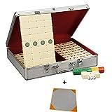 Zvvvst Mahjong Set,Exquisite Geschenkbox,Komplettes Zubehör,Melamin Produktion,Eine Vielzahl von Arten, Reiseset Mahjongg Boutique Majiang Mah Jongg Sets Majong Brettspiel,Beigeb,XXXL -
