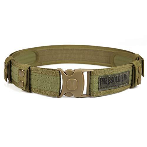 FREE SOLDIER Cintura Tattica da Combattimento Cintura Esterna Regolabile Utilità Militare per Equipaggiamento di Polizia per Esercito, Caccia, Attività all'aperto(Fango)