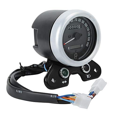 EBTOOLS Motorrad-Tachometer, multifunktionale Motorradinstrumente Retro-LED-Tachometer Kilometerzähler Kraftstoffanzeige Für CG125, 0-140 km/h