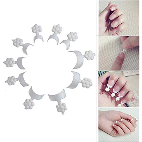 HAONAN French Chip-Proof Manicure Nail Tips, French Short Style Acrylic False Nail Art Tips Finger Sticker Extension Tool for Nail Salons and DIY Nail Art (100PCS)