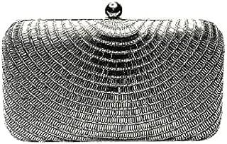 Luguni Designer Stone Work Clutch Handbags Purse For Women's Party/Wedding/Casual Silver Color