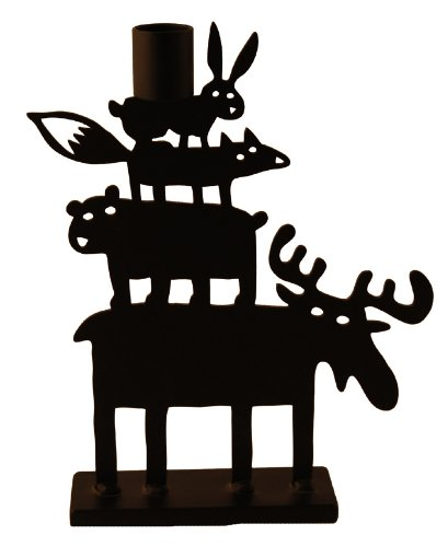 Bengt & Lotta Elch Pyramide schwarz Kerzenständer Höhe 22 cm