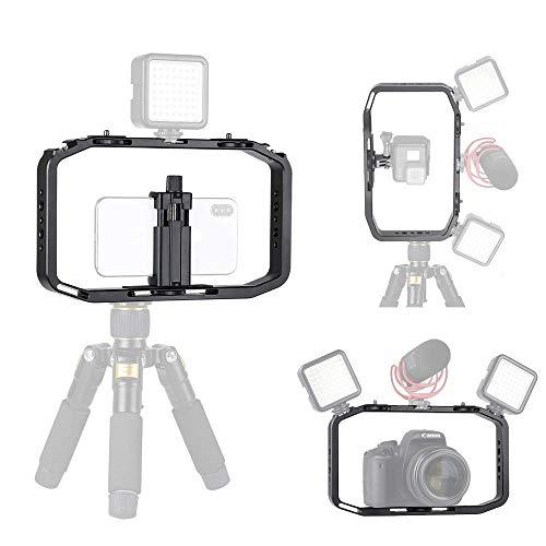 Verstellbares Aluminium-Video-Rig - Universal-Griffhalterung Stabilisator-Videohalterung Kameragehäuse mit kalter Schuhhalterung für Smartphones für GoPro/DJI OSMO Action/SJCAM/Eken Action-Kameras