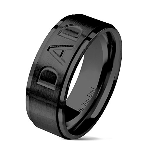 Blue Palm Jewelry - Rings DAD Deep Cut Center and Love You Dad Engraved Inside of Ring Stepped Edges Black IP Stainless Steel Rings R686 (13)