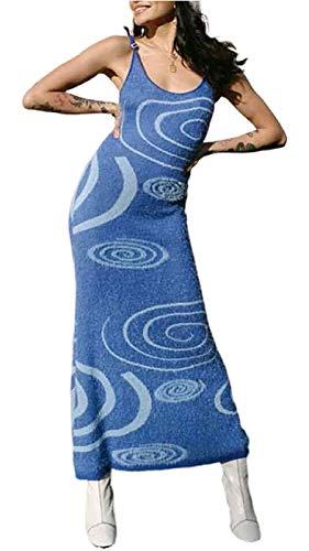 Print Knit Dress Y2K dla kobiet Hollow Out Midi Sukienki bez rękawów (Color : Blue, Size : Large)