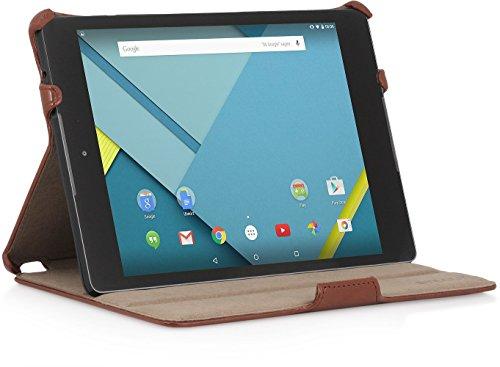StilGut UltraSlim Case, Tasche mit Stand- & Präsentationsfunktion für Google Nexus 9, Cognac