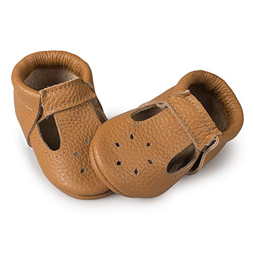 LittleBeMocs T-Strap Baby Moccasins (Italian Leather) Soft Sole Shoes for Boys and Girls | Infants, Babies, Toddlers (Caramel, Numeric_5)