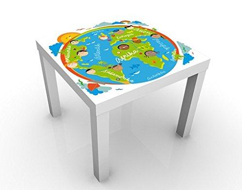 Apalis Design Tisch No.EK129 Kinderwelt 55x55x45cm Beistelltisch Couchtisch, Tischfarbe:Weiss;Größe:55 x 55 x 45cm