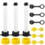 ATDIAG Gas Can Spout Replacement Kit, Flexible Pour Nozzle with Gasket, Gas Can Nozzle Replacement Universal with Seal Gasket/Vent Caps/Plugs/Extensions Fit Old & Most Cans - 3 Pack