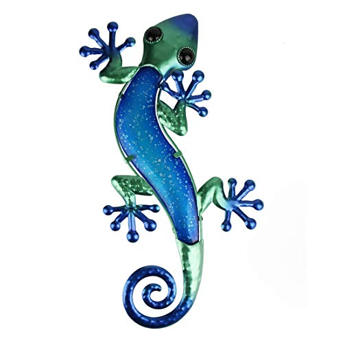 HONGLAND Metal Gecko Wall Decor Outdoor Lizard Art Sculpture Indoor Glass Decorations for Home Blue,15 Inches
