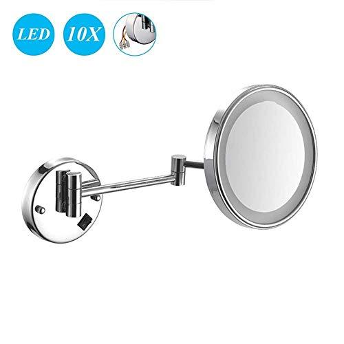 LY88 Kosmetikspiegel 8 Zoll 10X Vergrößerung Wandspiegel Make-up Rasierspiegel LED beleuchtet Badezimmerspiegel verbergen installieren für Hotel Eitelkeit mit Einstellbarer ausziehbarer