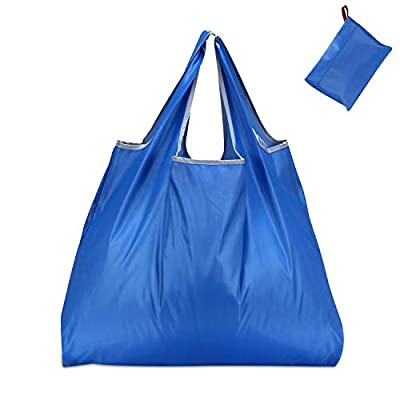 KINGMAS Reusable Grocery Bags, Eco-Friendly Folding Tote Shopping Bag fits in Pocket, Washable Waterproof Nylon holds Heavy Groceries Pouch Bags