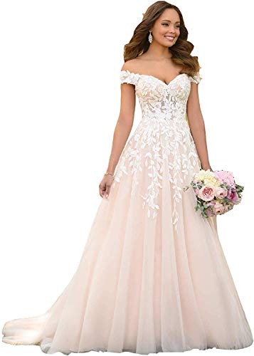 Women's A-Line Off The Shoulder Wedding Dresses Lace with Appliques Illusion Neckline Bridal Gown Ivory