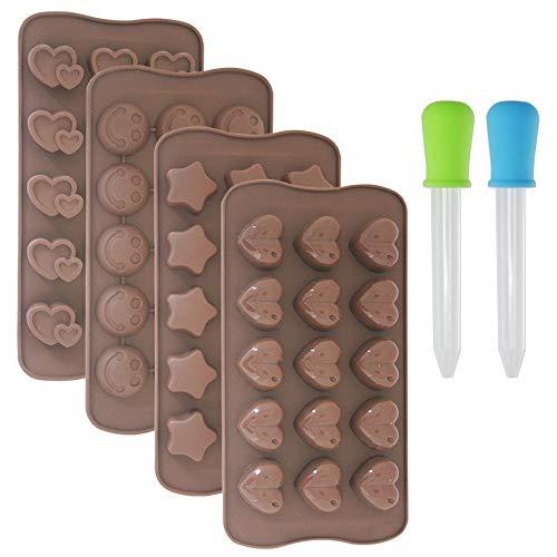 DaKuan Lot de 4 moules à pâtisserie en Silicone Anti-adhésif pour glaçons, gelée, Chocolat avec 2 goutteurs liquides, casseroles à Forme de Chaleur, étoiles, Visage Souriant.