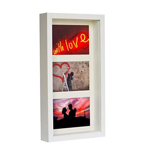 BD ART 18 x 35 cm 3D Box Mehrfach Bilderrahmen Weiß, Bildergalerie, Fotogalerie mit Passepartout und 3 Foto-Ausschnitten für Fotos 10 x 15 cm, Glasscheibe, Tief 3 cm