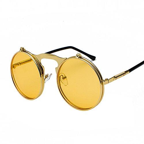 ZJIE Gafas de Sol Vintage Flip Up Men Sunglasses Women Retro Round Metal Frame Sun Glasses Hinge Design Curved Glasses Legs