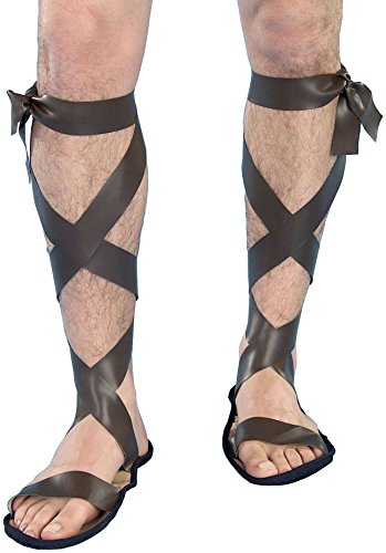 Forum Novelties Men's Novelty Wise Man Roman Sandals, Brown, One Size
