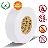 White Electrical Tape by LYLTECH, Pass UL/CSA Certification. Waterproof,Flame Retardant,Strong Rubber Based Adhesive, 600V with 14℉ to 176℉. Size : 66 feet x 3/4 inch x 0.07 mil (White)