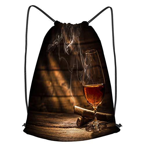 YMWEI Impermeable Bolsa de Cuerdas Saco de Gimnasio vaso whisky fumar cigarro...