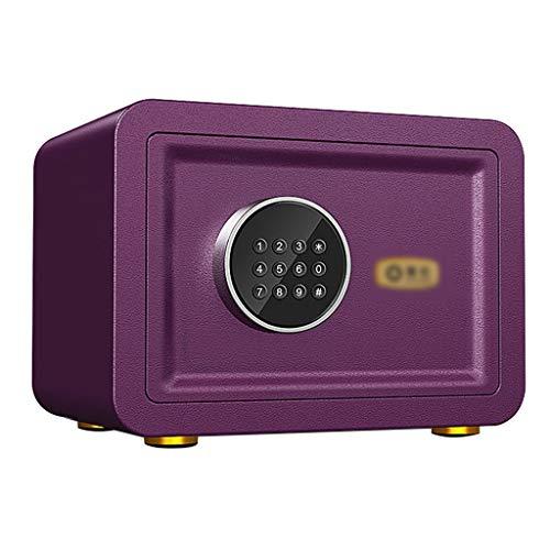 Dozen & Organisatoren Safe Box, kleine elektronische kluis kast met alarmsysteem thuiskantoor - Multi kleuren -35X25X25cm Cash Safe Box 5-7 Koraal Paars