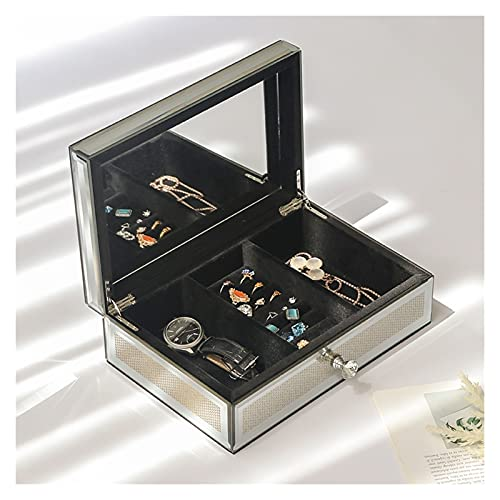 liangzishop Caja de Joyas Caja de joyería de joyería de joyería con Espejo de Cristal con Espejo de Cristal con Espejo de Plata de Lujo de Plata para Mujer Organizador de Joyas