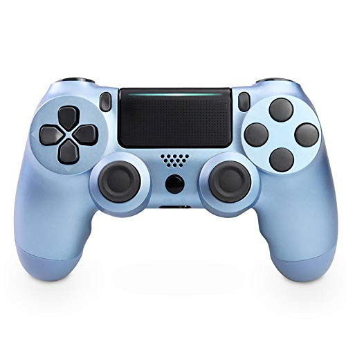 Wireless Controller für PS4, Wireless Controller kompatibel für Playstation 4/PS4 Slim/PS4 Pro, Wireless Controller mit doppelter Vibration/6-Achsen-Gyro/Turbo/Touchpad (Titanblau)
