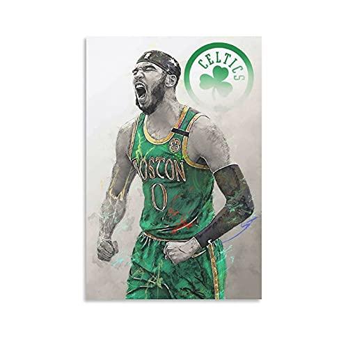 Celtics Canvas, Boston Celtics Poster, Jason Tatum Canvas, Jaylen Brown Advanced Framed Mural, Print Decoration Poster Decorative Painting Canvas Wall Art Living Room Posters Bedroom Painting 08×12inc