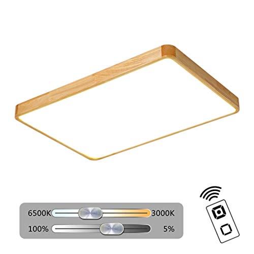 XMYX LED Deckenleuchte, Ultra-Thin Quadratische Deckenlampe Holz Lampe Wohnzimmer Schlafzimmer Kinderzimmer Decke Beleuchtung Leuchte,Dimmable,95x65x6cm