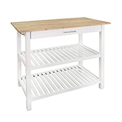 Solid wood top for increased durability and longevity contrasts with the clean white finish seamlessly Convenient drawer pulls with a stainless steel handle to provide an enclosed space to keep your kitchen essentials Two (2) spacious lower shelves p...