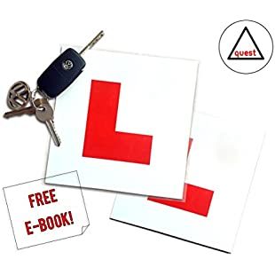 Quest Products Ltd Magnetic L Plates 2 Pack Includes Motorway Driving Guide E-book (Sent via email) For New Learner Drivers