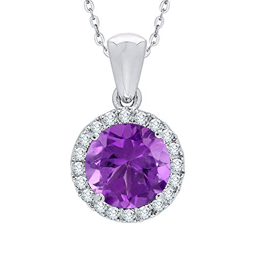 KATARINA Collar con colgante de halo de diamantes y amatista en oro o plata (1 7/8 cttw, G-H, I2-I3)