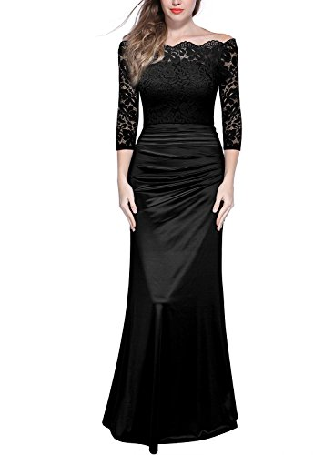MIUSOL Damen Elegant Cocktailkleid Spitzen Vintage Kleid Off Schulter Brautjungfer Langes Abendkleid Schwarz XL
