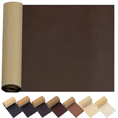 Leather Repair Patch for Couches 17X55inch Large Self-Adhesive reupholster Tape Patches kit for Couch Car Seats Furniture Sofa Vinyl Chairs Jackets Shoes Fabric Fix Tear (Dark Brown, 17x55 inch)