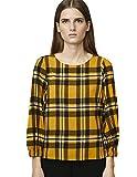 COMPAÑÍA FANTÁSTICA Top Mostaza Camisa, Amarillo (Cuadros 000058), 38 (Tamaño del Fabricante:S) para Mujer