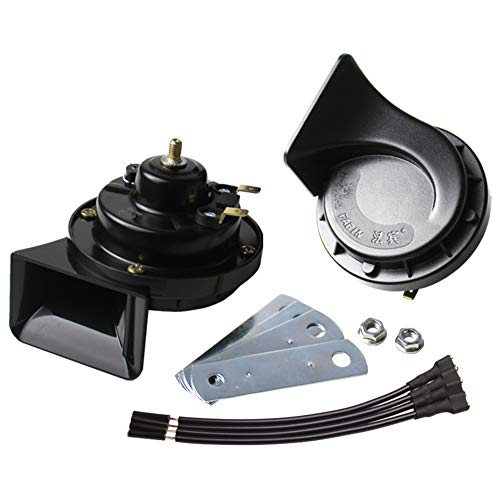 FARBIN Waterproof Auto Horn 12V Car Horn Loud Dual-Tone Electric Snail Horn Kit Universal for Any 12V Vehicles Black