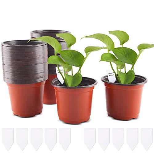 FORMIZON 100 Piezas Macetas de Plástico, 10 cm Plantas Pequeña Macetas de Vivero de Plástico con 10 Etiquetas, Macetas de Plástico para Plantas, Flores y Jardinería