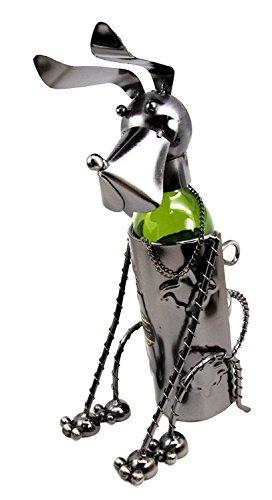 Atlantic Collectibles Cute Basset Hound Sitting Pet Dog Hand Made Metal Wine Bottle Holder Caddy Decor Figurine 13.5'H